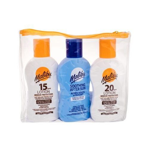 Malibu Lotion SPF20 zestaw 100 ml Mleczko do opalania SPF20 100 ml + Mleczko do opalania SPF15 100 ml + Mleczko po opalaniu 100 ml unisex (5025135114427)