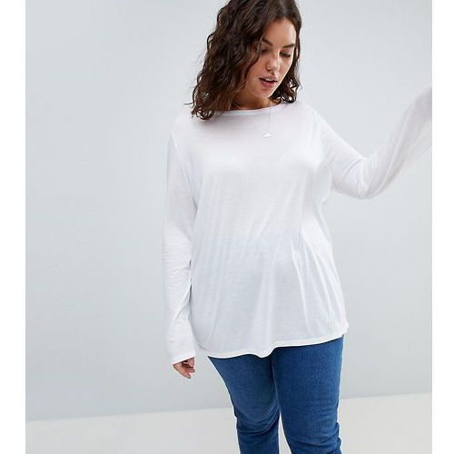 ASOS CURVE T-Shirt with Longline Sleeve In Lightweight Jersey - White, kolor biały