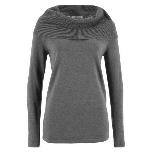 Sweter z golfem, długi rękaw bonprix szary melanż, kolor szary