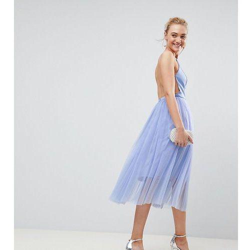 Asos tall premium scuba pinny midi tulle dress - blue