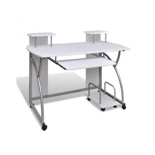 Biurko komputerowe, na kółkach, białe - sprawdź w VidaXL