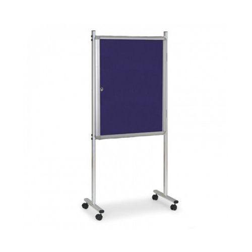 Gablota na stojaku, tekstylna, niebieska, jednostronna, z kółkami marki B2b partner