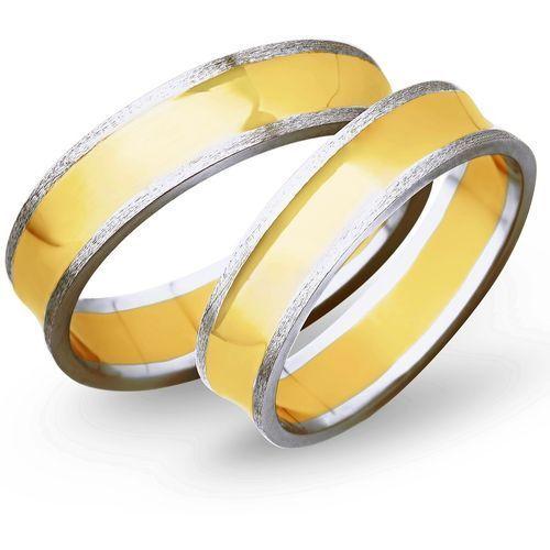 Obrączki z żółtego i białego złota 5mm - O2K/002 - produkt dostępny w Świat Złota