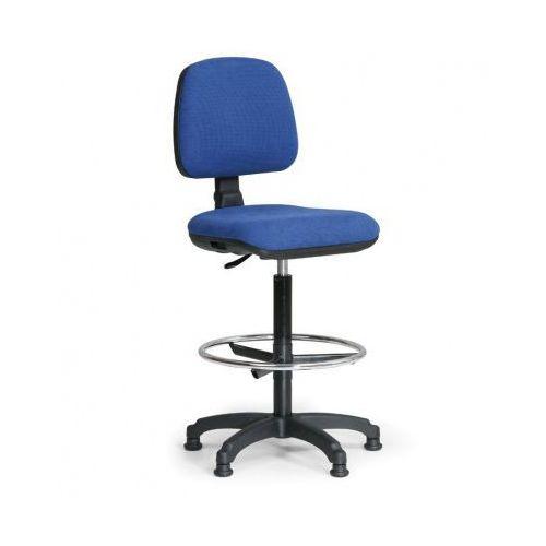 Podwyższone krzesło biurowe milano z podnóżkiem - niebieske marki B2b partner