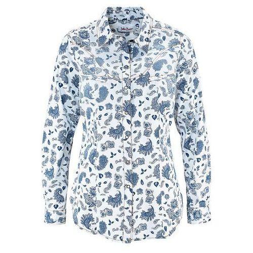 Koszula dżinsowa bonprix biały z nadrukiem