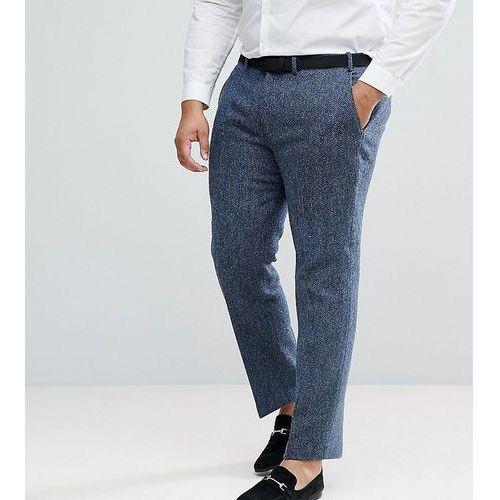 plus slim suit trousers in 100% wool harris tweed in blue mini check - blue, Asos
