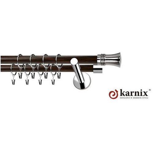 Karnisz metalowy neo prestige podwójny 19/19mm capri inox - wenge od producenta Karnix