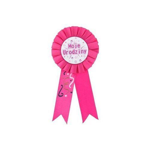Kotylion różowy moje urodziny - 8 cm - 1 szt. marki Go