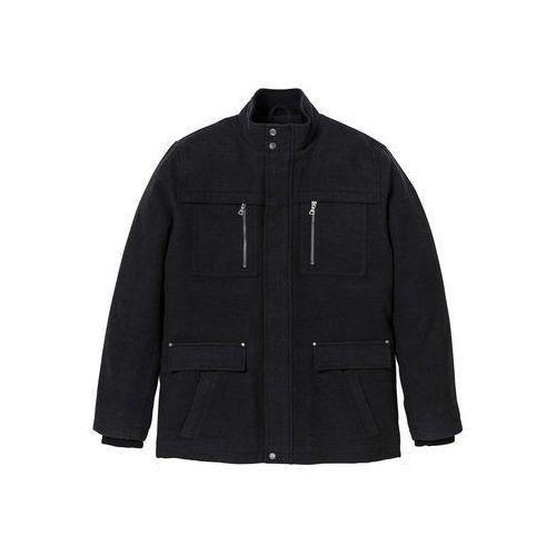 Długa kurtka z materiału w optyce wełny regular fit  antracytowy melanż marki Bonprix