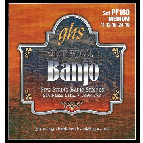 Ghs professional struny do banjo, 5-str. loop end, stainless steel, medium,.011-.024
