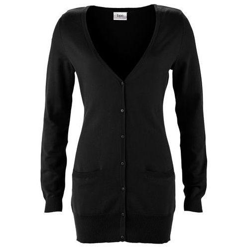 Długi sweter rozpinany czarny marki Bonprix