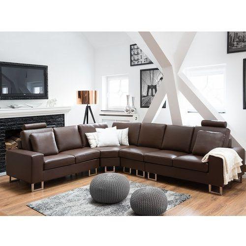 Stylowa sofa kanapa z brązowej skóry naturalnej narożnik stockholm marki Beliani