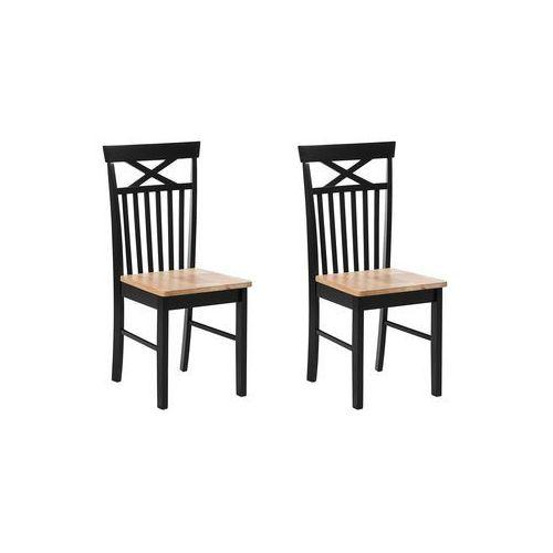 Beliani Zestaw 2 krzeseł do jadalni czarny/brązowy houston