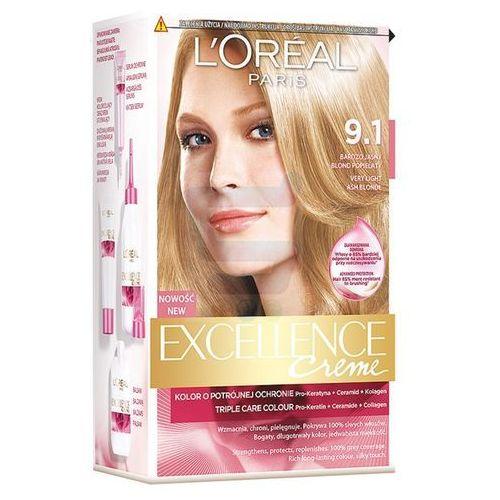 Excellence Creme farba do włosów 9.1 Bardzo jasny blond popielaty - L'Oreal Paris (3600010022602)