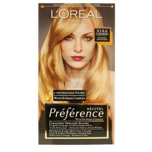 LOREAL PARIS Recital Preference Farba do włosów X3 8.0 Californie Jasny Blond