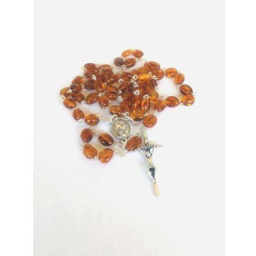 Różaniec z bursztynu z Matką Bożą i Janem Pawłem II (śr. bursztynu 7 mm)