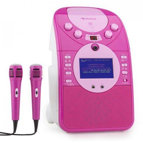 Screenstar zestaw karaoke kamera cd usb sd mp3 z 2 x mikrofon różowy marki Auna