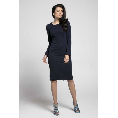 f53fbe7896 Granatowa Klasyczna Dopasowana Sukienka za Kolano 115