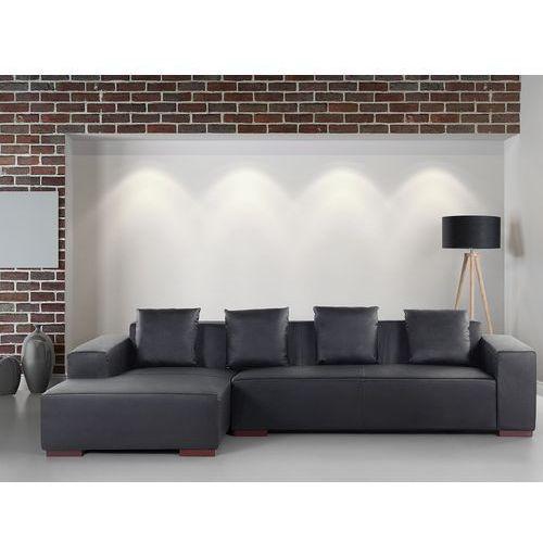 Sofa narożna R - głęboka czerń - skórzana - drewniane nóżki - narożnik - LUNGO (7081456006337)