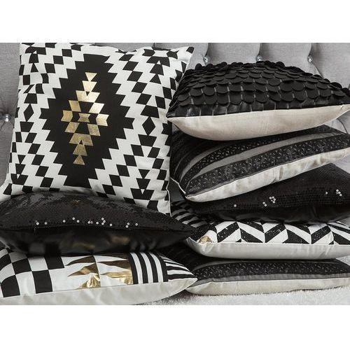 Poduszka dekoracyjna w jodełkę 45 x 45 cm czarno-biała HELCONIA