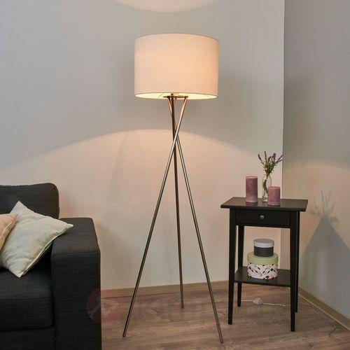 Trójnożna lampa stojąca Fiby, biały, tekst. klosz (4251096522457)