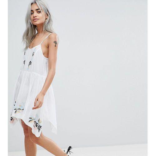 Asos design petite floral cross stitch embroidered strappy beach sundress - white marki Asos petite