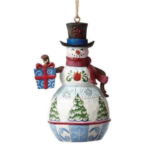 Bałwanek zawieszka Mini Snowman With Gift 4050759 Jim Shore figurka ozdoba świąteczna