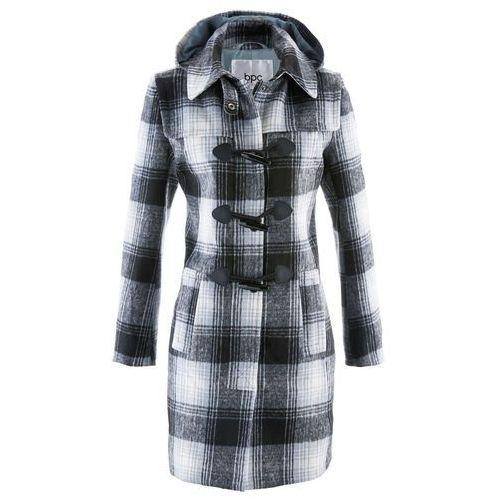Płaszcz z kapturem bonprix srebrnoszary w kratę, kolor szary