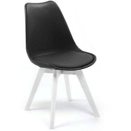 Nowoczesne krzesło 53e-7 czarne, nogi białe marki Emwomeble