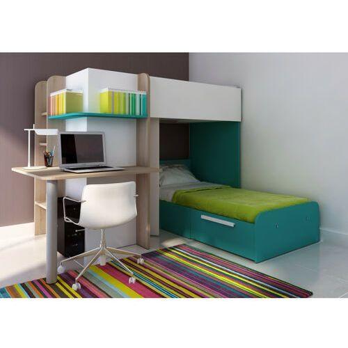 Łóżko piętrowe samuel – 2 × 90 × 190 cm – wbudowane biurko – kolor sosna biała i turkusowy marki Vente-unique