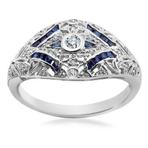 Royal Diamonds - złoty pierścionek z brylantami i szafirami