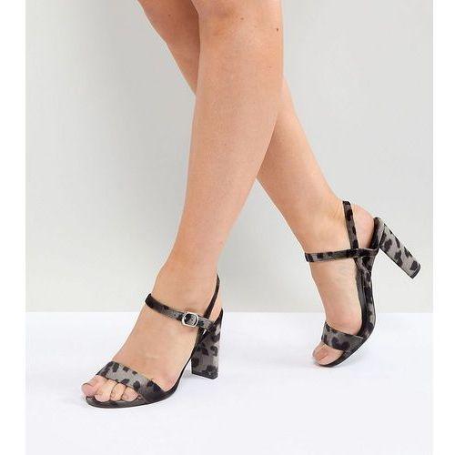wide fit velvet dark leopard print block heel sandals - grey marki New look