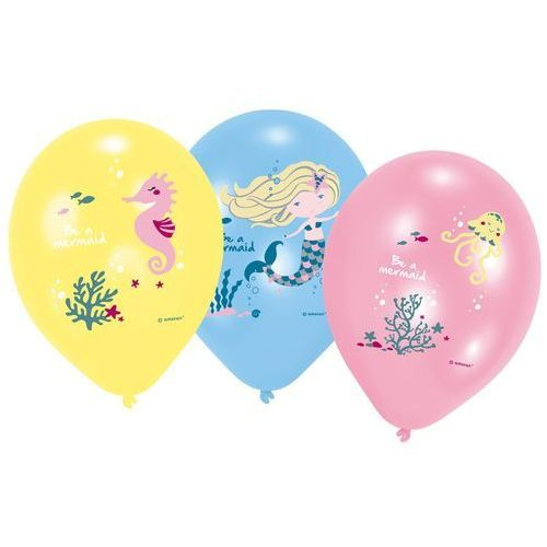 Balony lateksowe Syrenka - 27 cm - 6 szt.