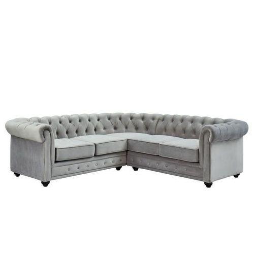 Vente-unique Sofa narożna z weluru chesterfield - srebrnoszary