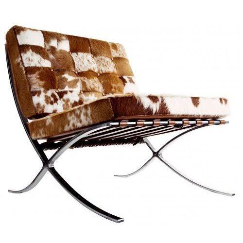 Brązowo biały Fotel Skóra Naturalna Z Włosiem Pony Inspirowany Projektem Barcelona, 8030pony