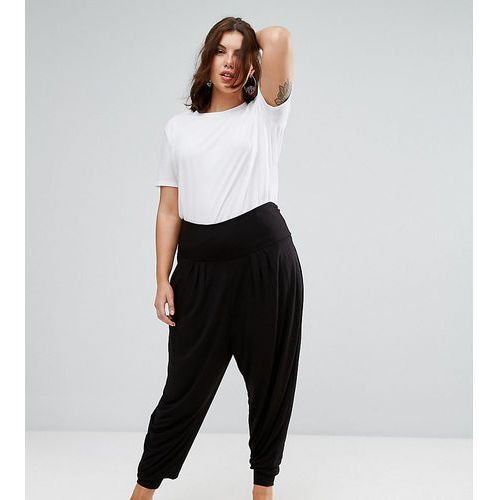 harem pants with foldover waistband in jersey - black marki Asos curve