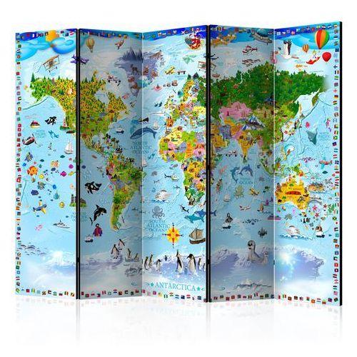 Artgeist Parawan 5-częściowy - mapa świata dla dzieci ii [room dividers] bogata chata