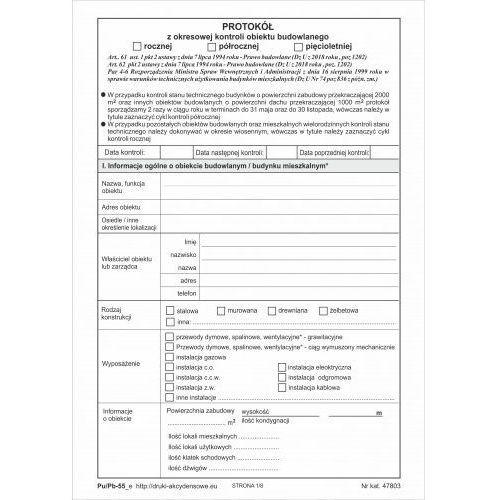 Protokół z okresowej kontroli obiektu budowlanego [Pu/Pb-55] - wersja elektroniczna (5907510478037)