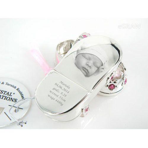Buciki Pamiątka Chrztu na Chrzest Swarovski GRAWER - Srebrne buciki różowe kryształy