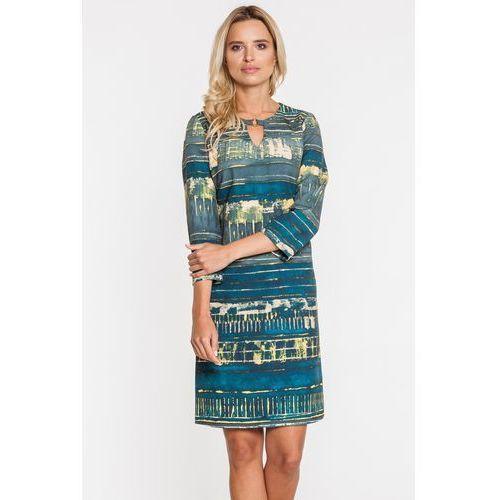 Potis & verso Dopasowana sukienka w niebieskie wzory -