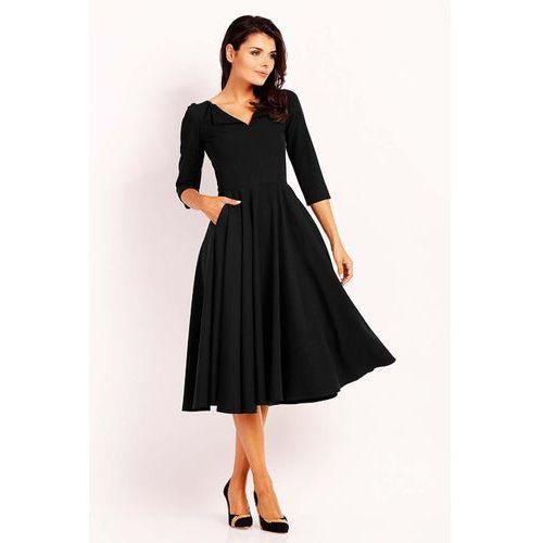 f799b2ae5c Czarna Elegancka Rozkloszowana Sukienka z Wykładanym Kołnierzem 141