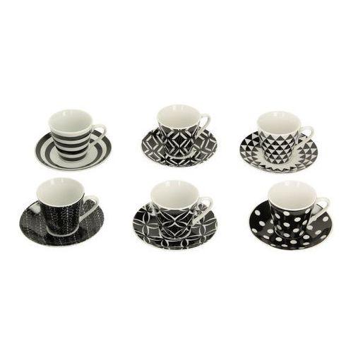 zestaw filiżanek do espresso geo black&white, 34 × 15 × 7 cm marki Dekoria
