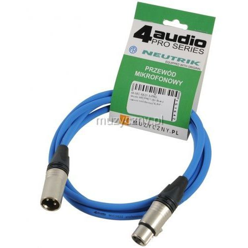 4Audio MIC PRO 1,5m Blue przewód mikrofonowy XLR-F - XLR-M (niebieski) Neutrik