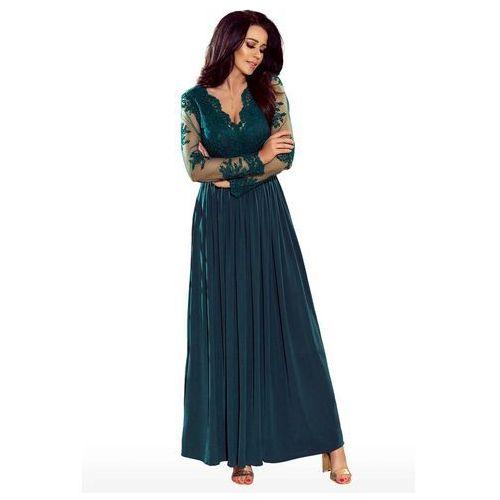 Zielona Wieczorowa Sukienka Maxi z Koronkową Górą, kolor zielony