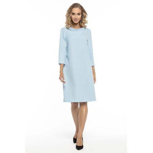 46ae441465 Trapezowa Błękitna Sukienka z Kołnierzykiem JACKIE KENNEDY