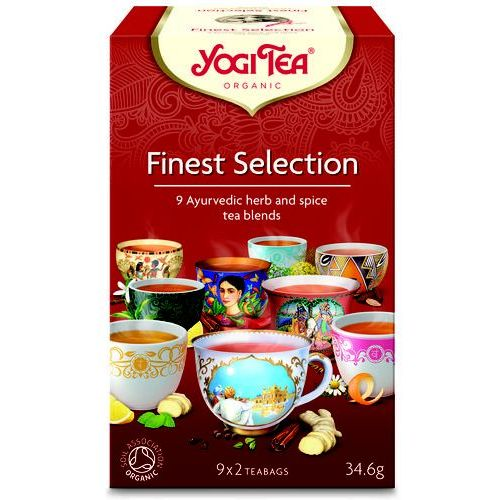 Herbatka ekspresowa finest selection (mix herbatek) bio (9 x 2 torebki) 34,6 g - marki Yogi tea
