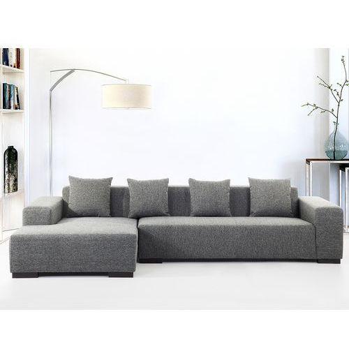 Sofa ciemnoszara - sofa narożna R - tapicerowana - LUNGO (7081455571744)