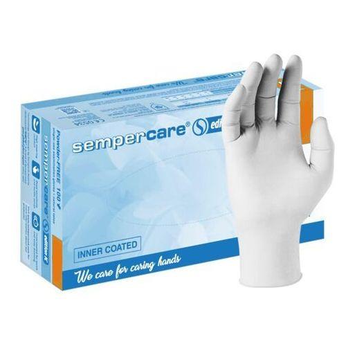 Lateksowe rękawice ochronne sempercare edition ic, bezpudrowe, białe 100 szt - roz. xs marki Semperit