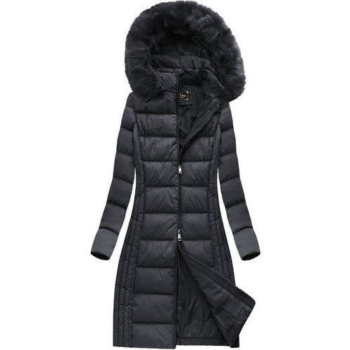 Długa kurtka zimowa z kapturem czarna (7753) - czarny, Libland, 36-44