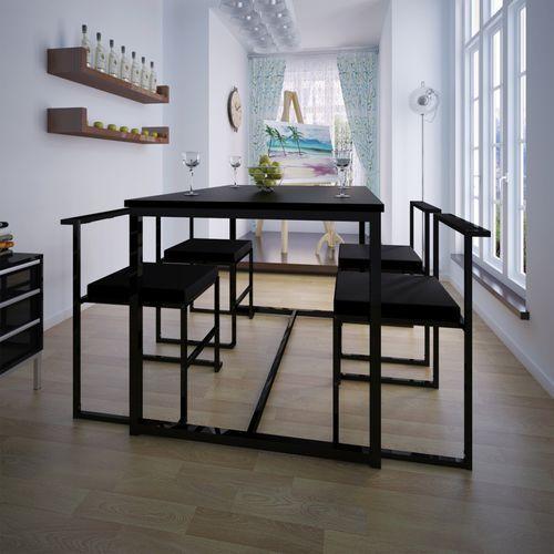 zestaw jadalniany, stół i cztery krzesła, czarne od producenta Vidaxl